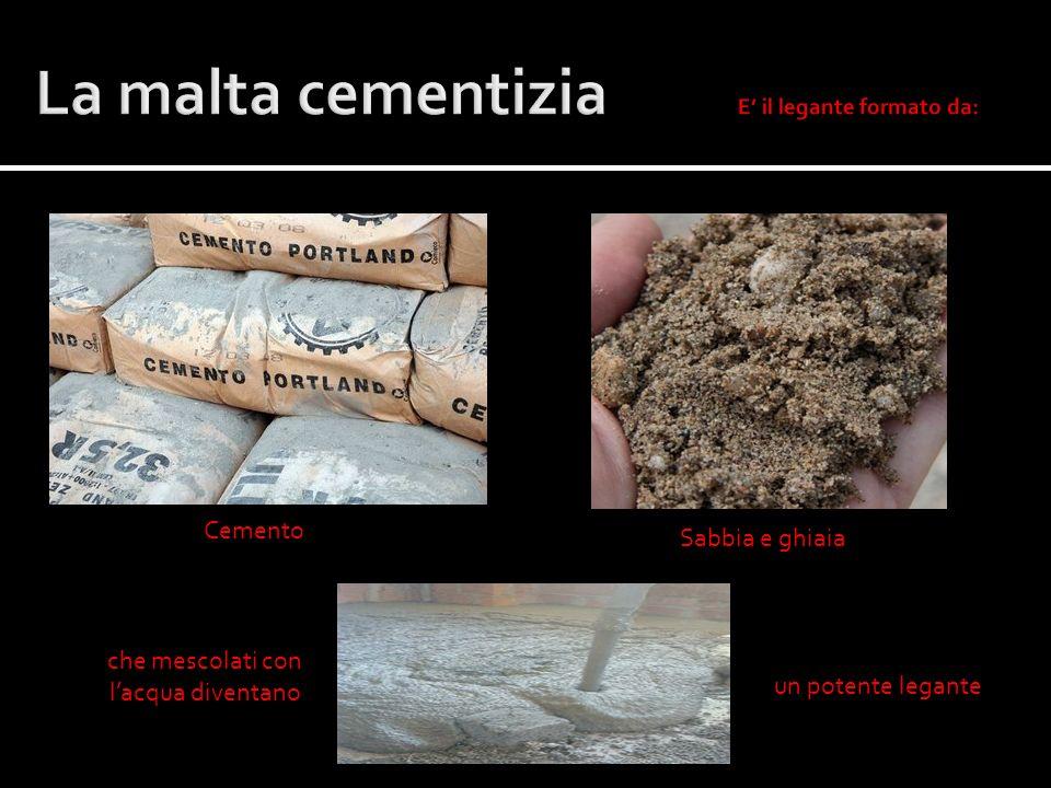 La malta cementizia E' il legante formato da: