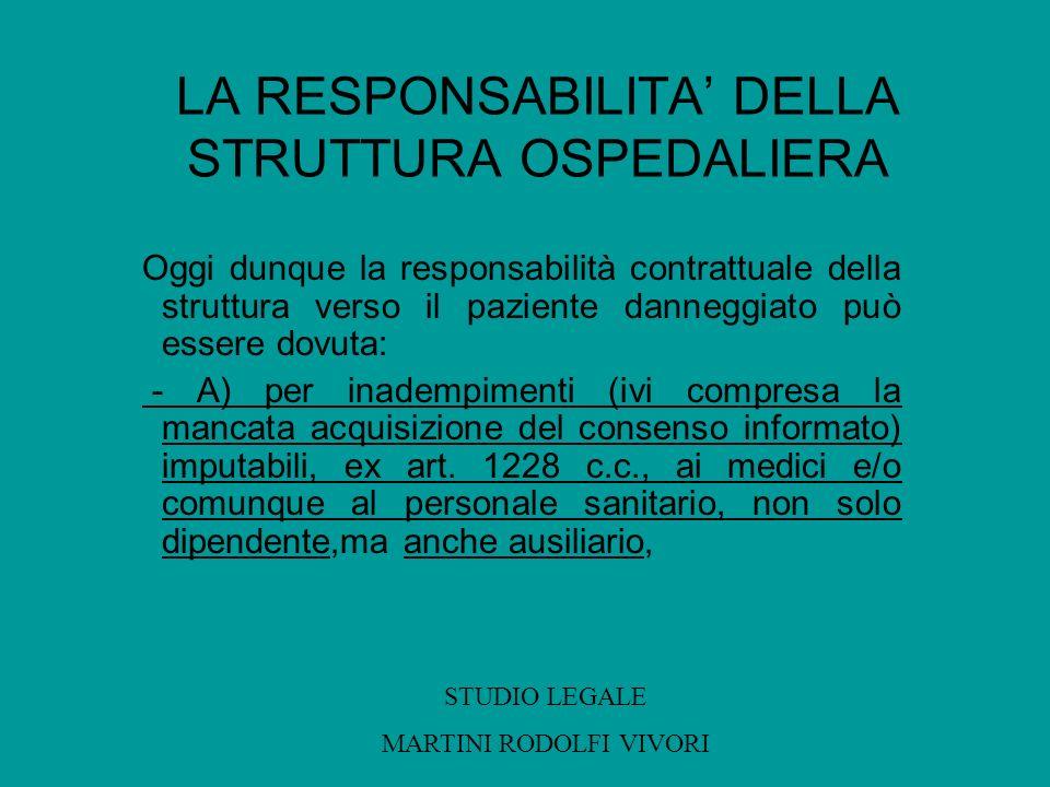 LA RESPONSABILITA' DELLA STRUTTURA OSPEDALIERA