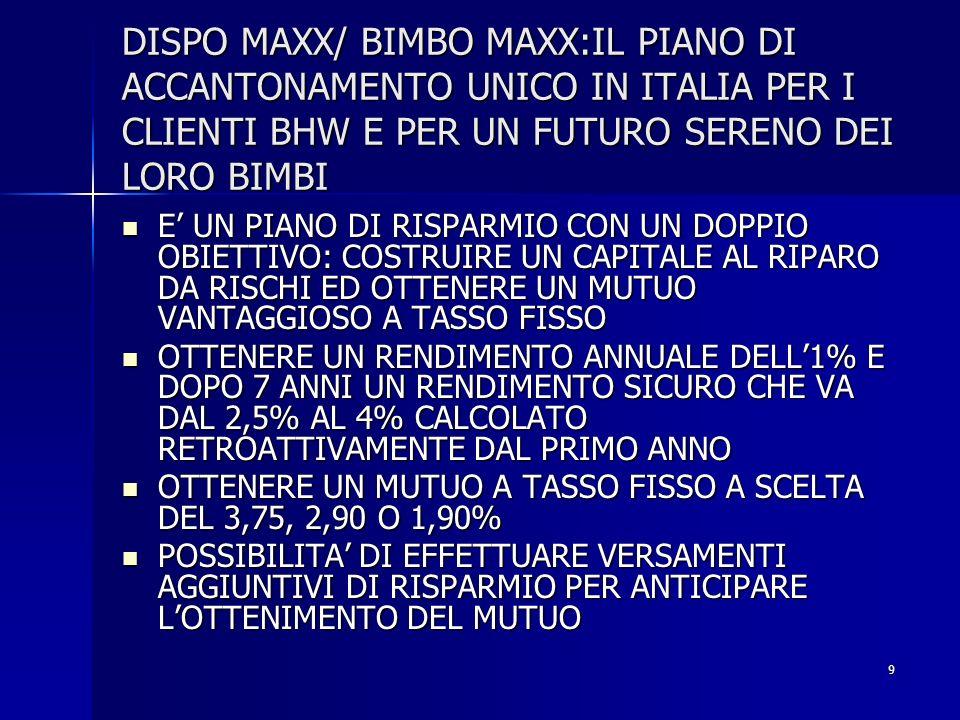 DISPO MAXX/ BIMBO MAXX:IL PIANO DI ACCANTONAMENTO UNICO IN ITALIA PER I CLIENTI BHW E PER UN FUTURO SERENO DEI LORO BIMBI