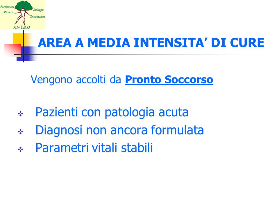 AREA A MEDIA INTENSITA' DI CURE