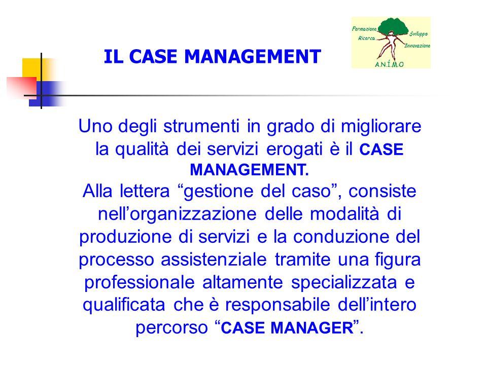 IL CASE MANAGEMENT Uno degli strumenti in grado di migliorare la qualità dei servizi erogati è il CASE MANAGEMENT.