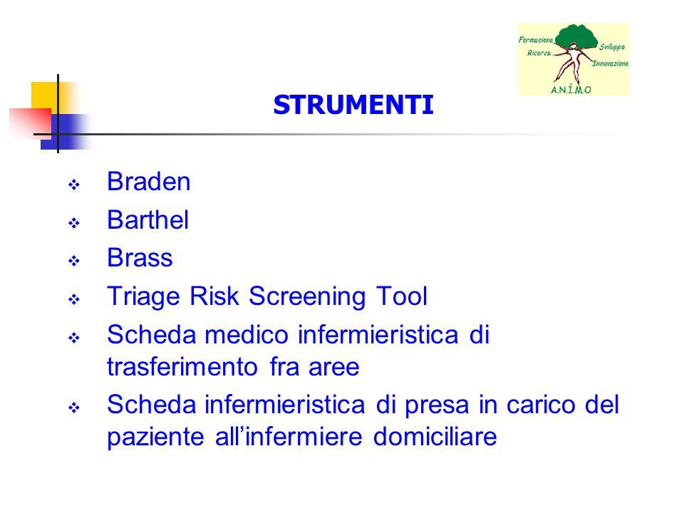 STRUMENTI Braden. Barthel. Brass. Triage Risk Screening Tool. Scheda medico infermieristica di trasferimento fra aree.