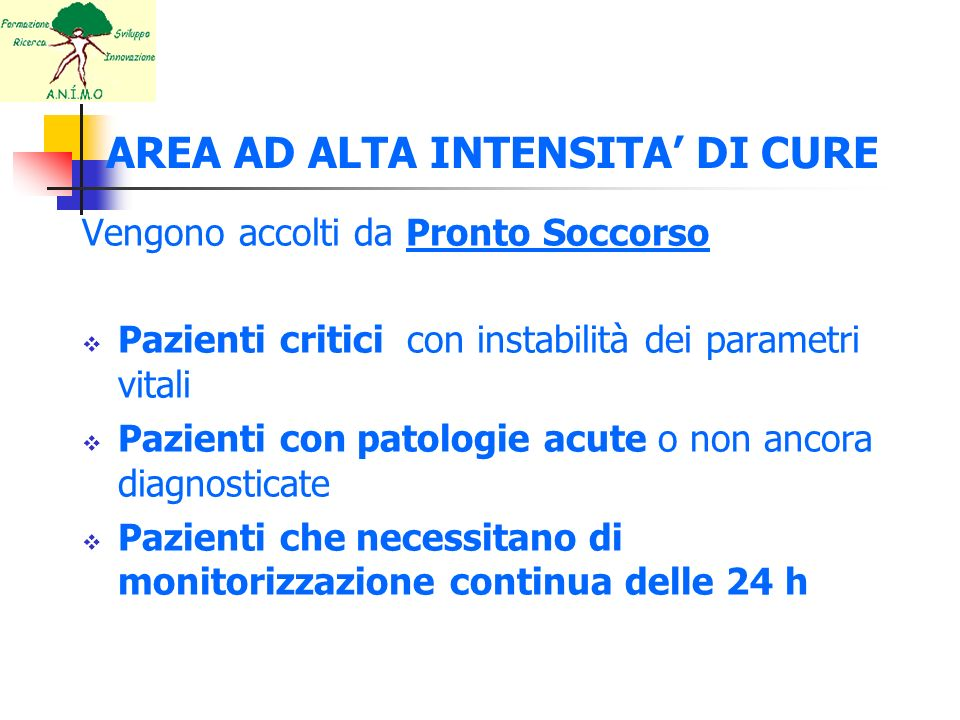 AREA AD ALTA INTENSITA' DI CURE