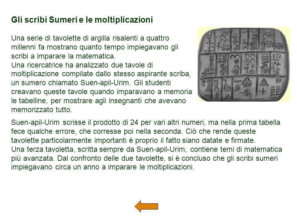 Gli scribi Sumeri e le moltiplicazioni