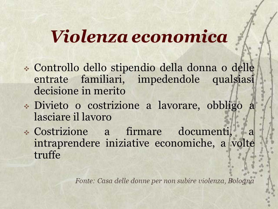 Violenza economica Controllo dello stipendio della donna o delle entrate familiari, impedendole qualsiasi decisione in merito.