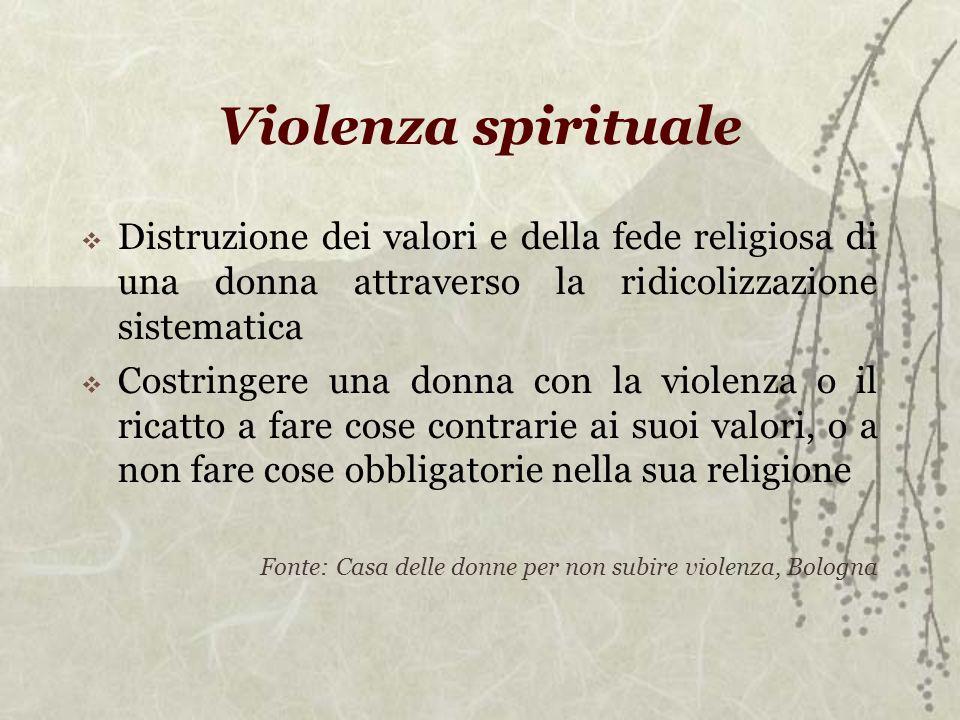 Violenza spirituale Distruzione dei valori e della fede religiosa di una donna attraverso la ridicolizzazione sistematica.