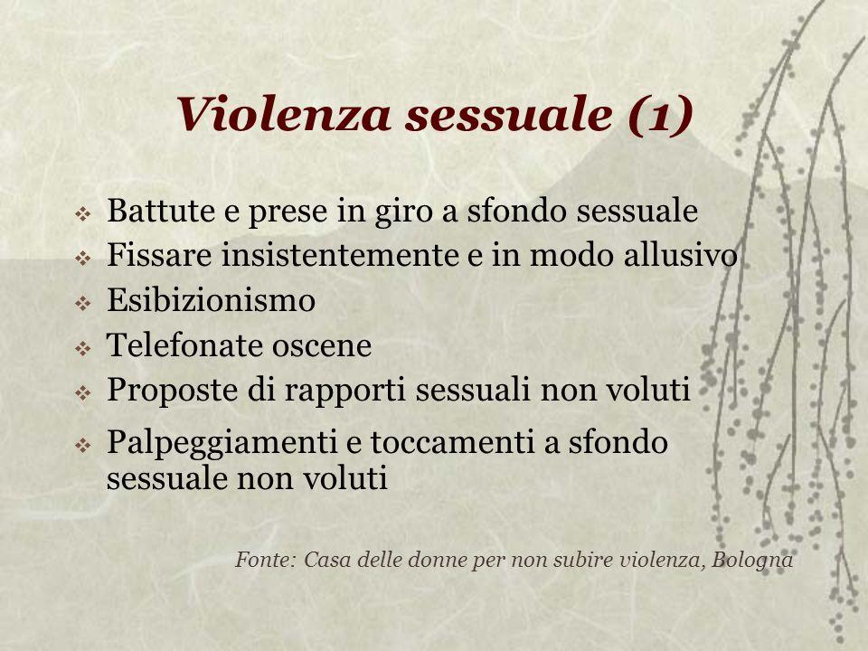 Violenza sessuale (1) Battute e prese in giro a sfondo sessuale