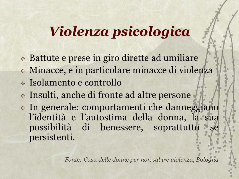 Violenza psicologica Battute e prese in giro dirette ad umiliare