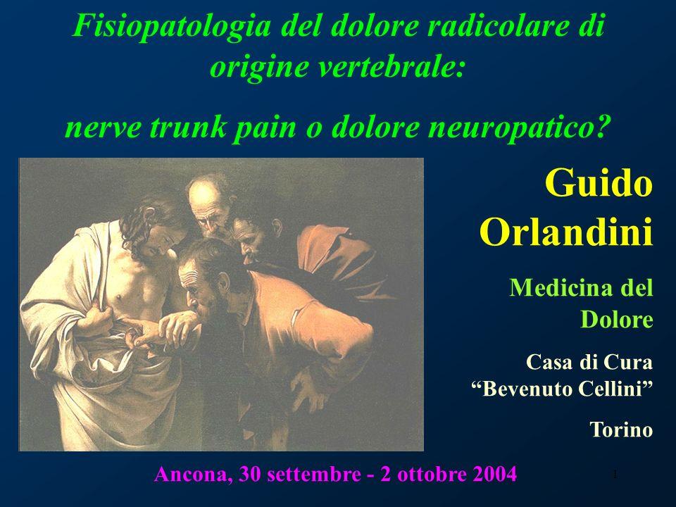 Fisiopatologia del dolore radicolare di origine vertebrale: