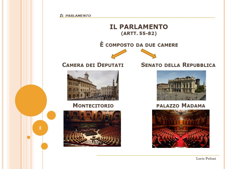 Parte seconda della costituzione ordinamento della for Parlamento della repubblica