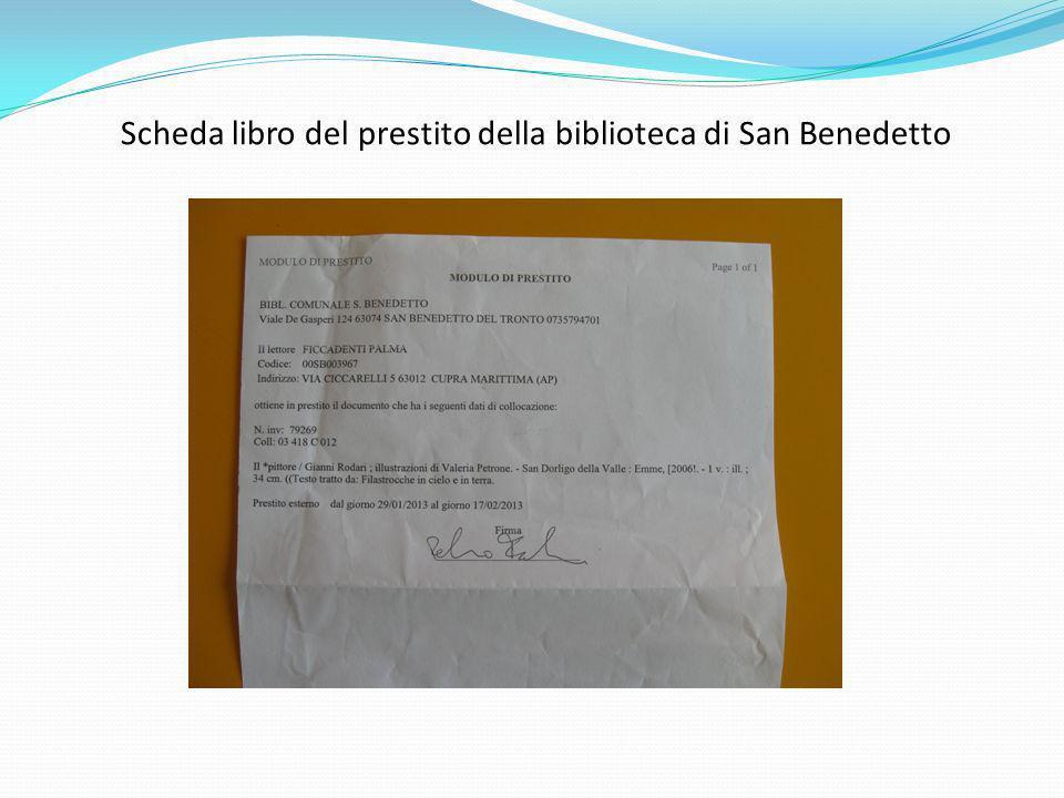 Scheda libro del prestito della biblioteca di San Benedetto