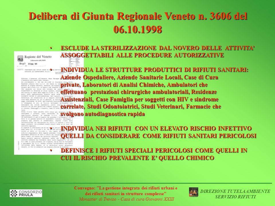 Delibera di Giunta Regionale Veneto n. 3606 del