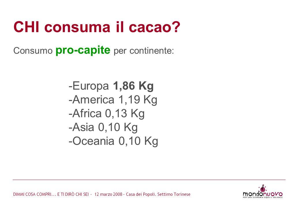 CHI consuma il cacao Europa 1,86 Kg America 1,19 Kg Africa 0,13 Kg