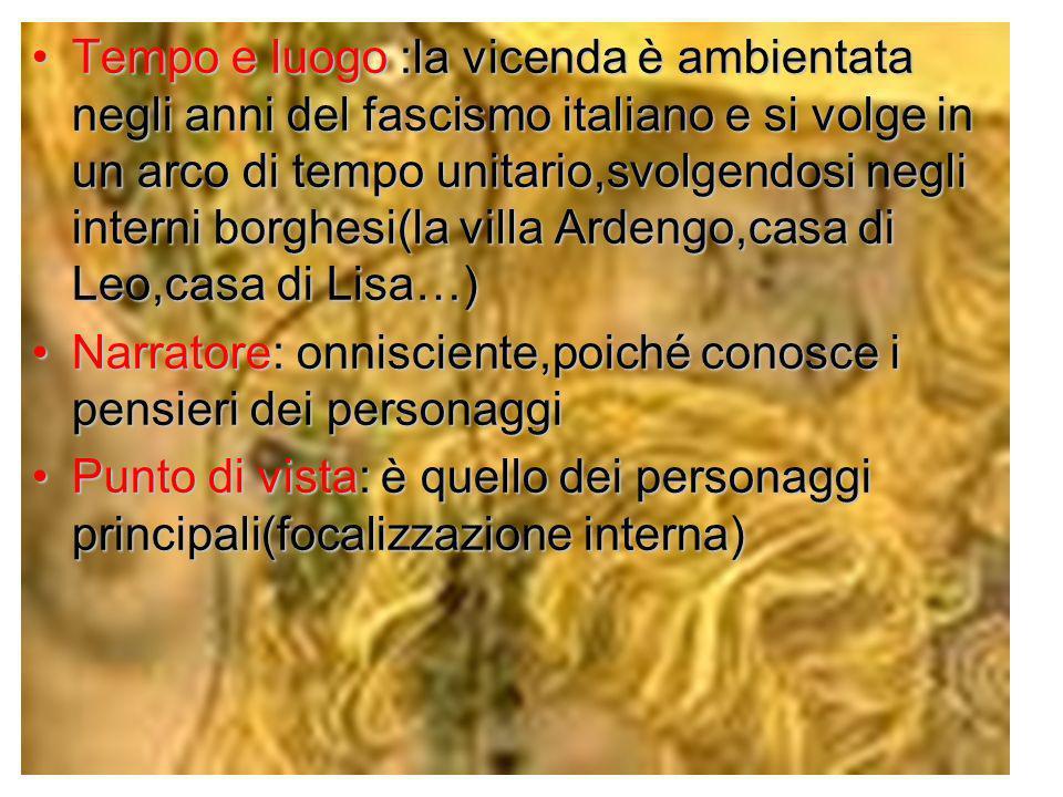 Tempo e luogo :la vicenda è ambientata negli anni del fascismo italiano e si volge in un arco di tempo unitario,svolgendosi negli interni borghesi(la villa Ardengo,casa di Leo,casa di Lisa…)