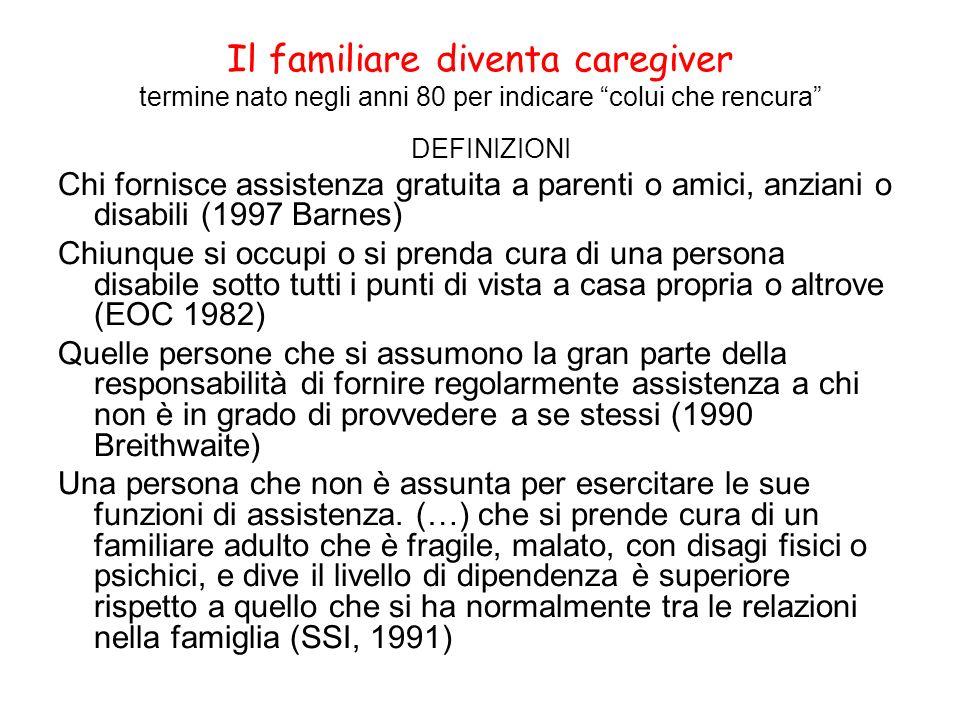 Il familiare diventa caregiver termine nato negli anni 80 per indicare colui che rencura