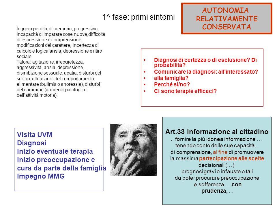 1^ fase: primi sintomi AUTONOMIA RELATIVAMENTE CONSERVATA