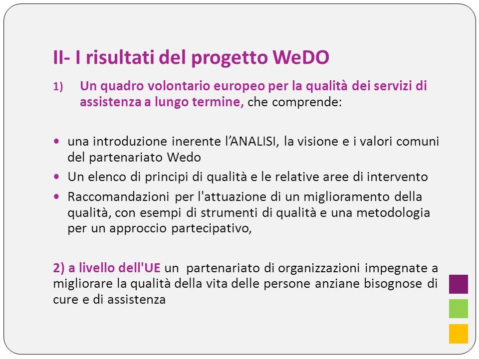 II- I risultati del progetto WeDO