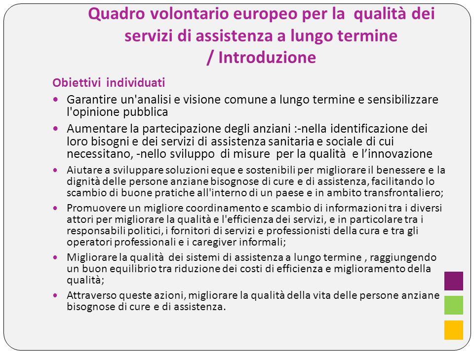 Quadro volontario europeo per la qualità dei servizi di assistenza a lungo termine / Introduzione