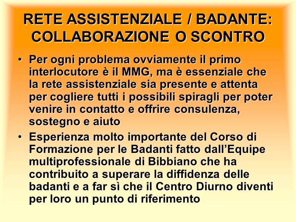 RETE ASSISTENZIALE / BADANTE: COLLABORAZIONE O SCONTRO