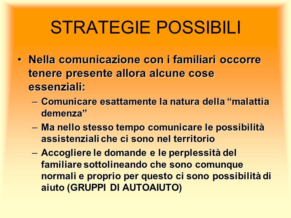 STRATEGIE POSSIBILI Nella comunicazione con i familiari occorre tenere presente allora alcune cose essenziali: