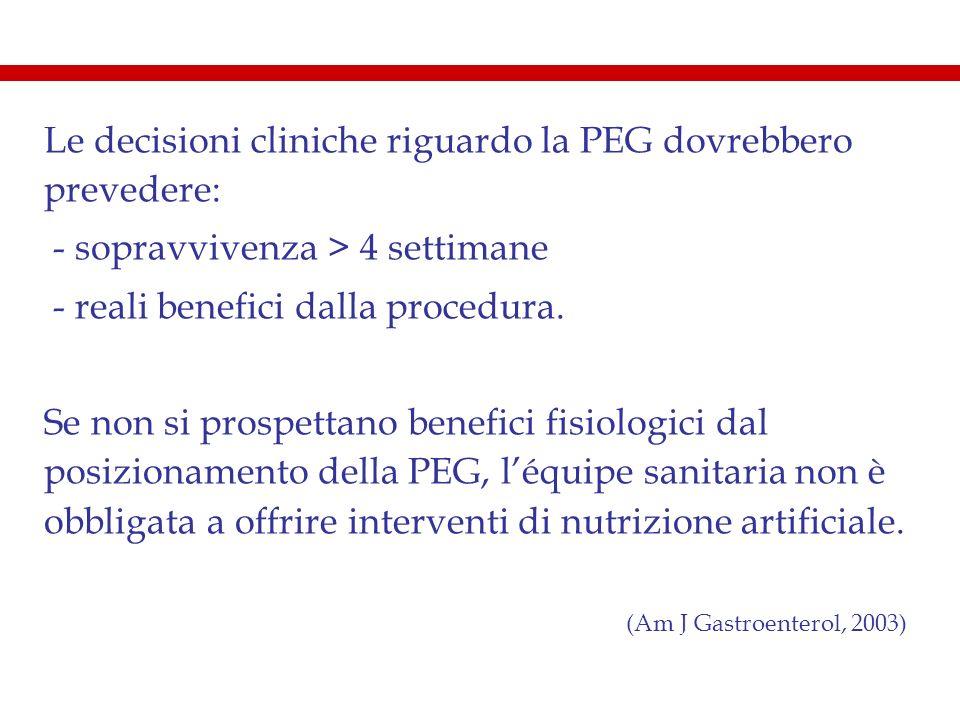 Le decisioni cliniche riguardo la PEG dovrebbero prevedere: