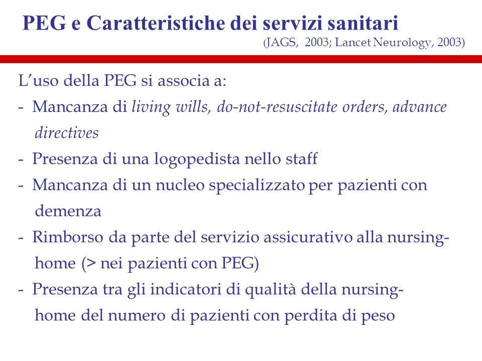 PEG e Caratteristiche dei servizi sanitari