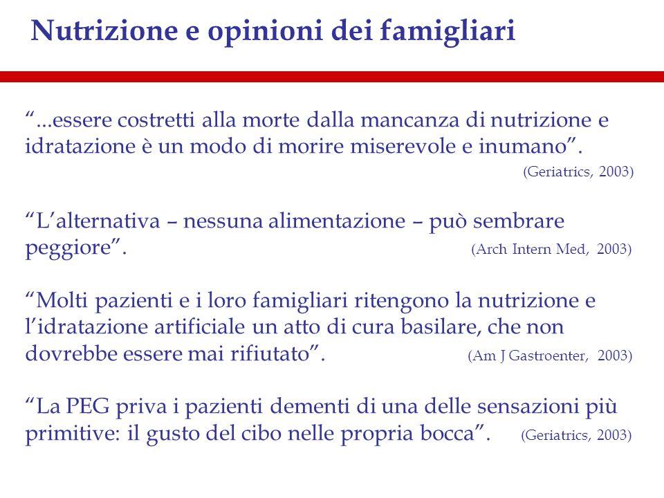 Nutrizione e opinioni dei famigliari