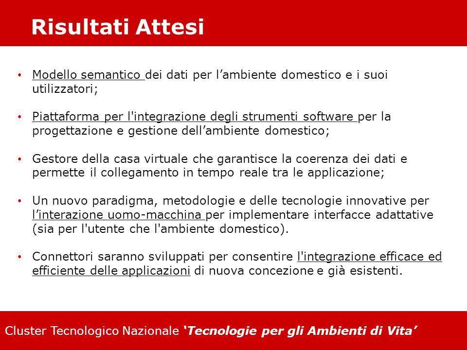 Risultati Attesi Modello semantico dei dati per l'ambiente domestico e i suoi utilizzatori;