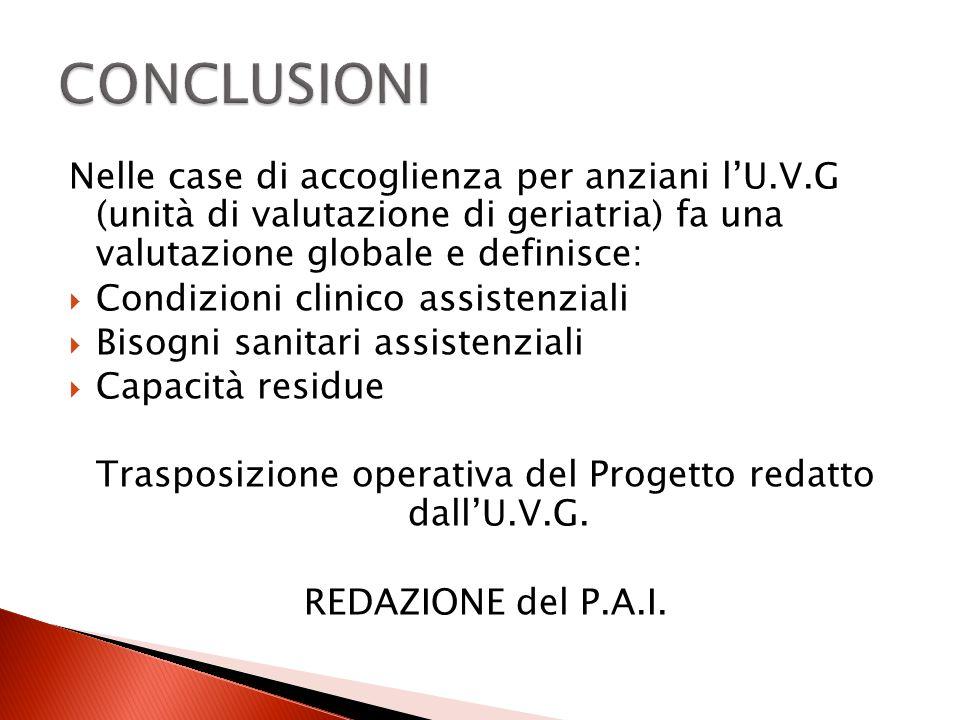 Trasposizione operativa del Progetto redatto dall'U.V.G.