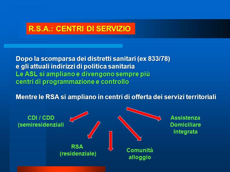 R.S.A.: CENTRI DI SERVIZIO