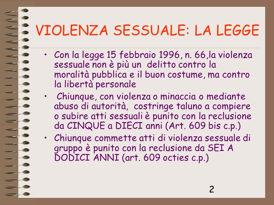 VIOLENZA SESSUALE: LA LEGGE