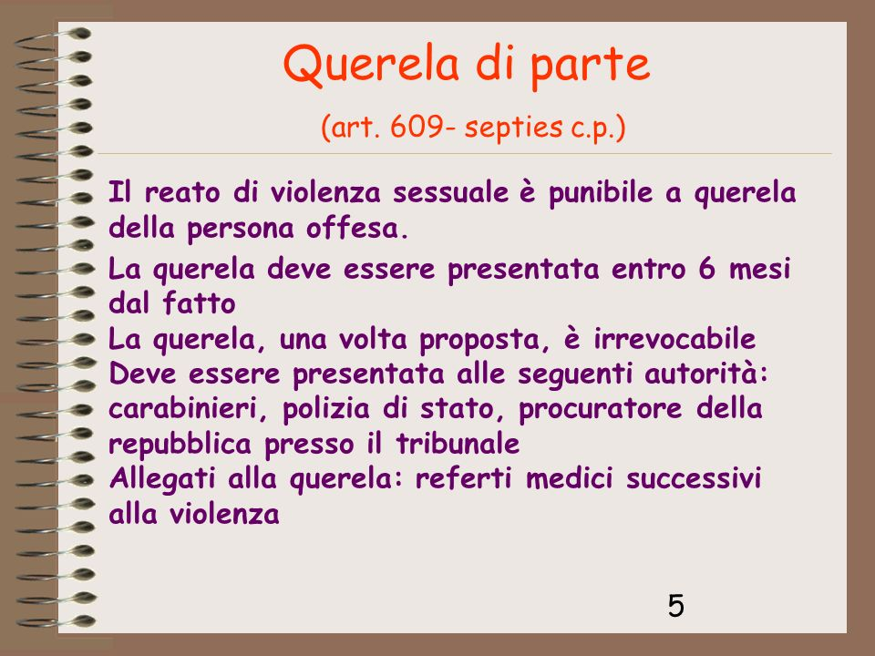 Querela di parte (art. 609- septies c.p.)