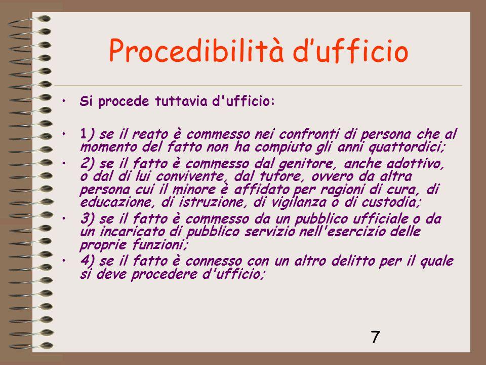 Procedibilità d'ufficio