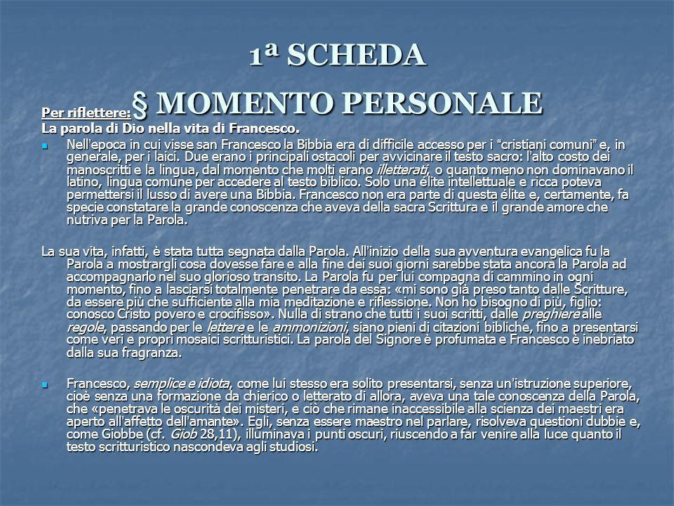 1ª SCHEDA § MOMENTO PERSONALE