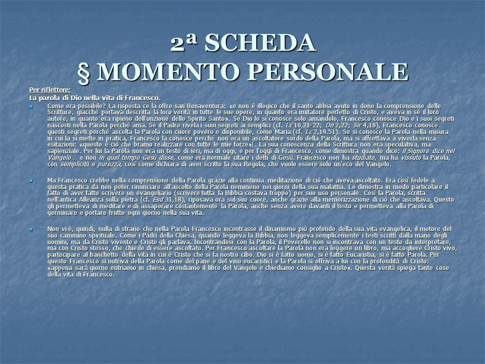 2ª SCHEDA § MOMENTO PERSONALE