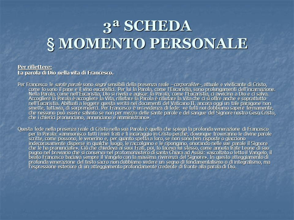3ª SCHEDA § MOMENTO PERSONALE