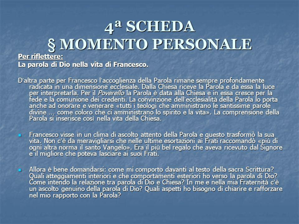 4ª SCHEDA § MOMENTO PERSONALE