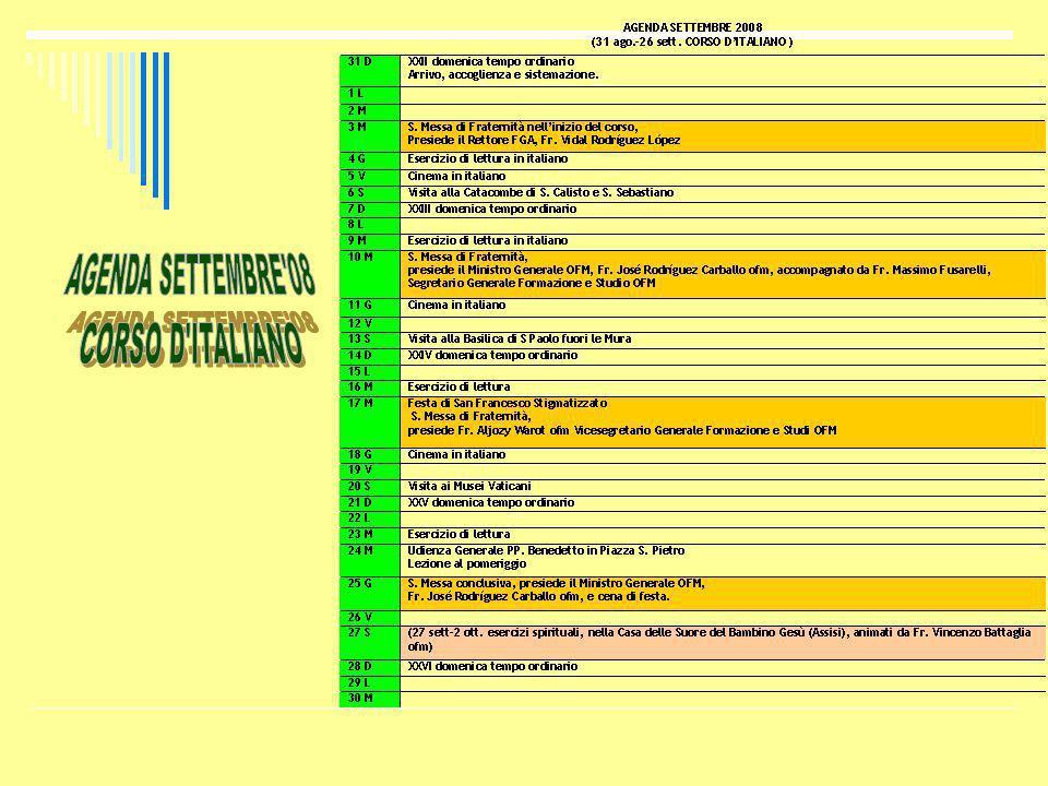 AGENDA SETTEMBRE 08 CORSO D ITALIANO