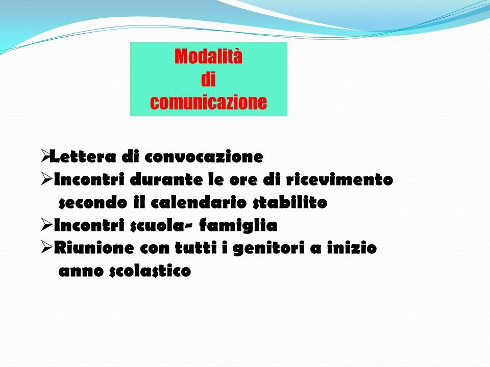 Modalità di. comunicazione. Lettera di convocazione. Incontri durante le ore di ricevimento. secondo il calendario stabilito.