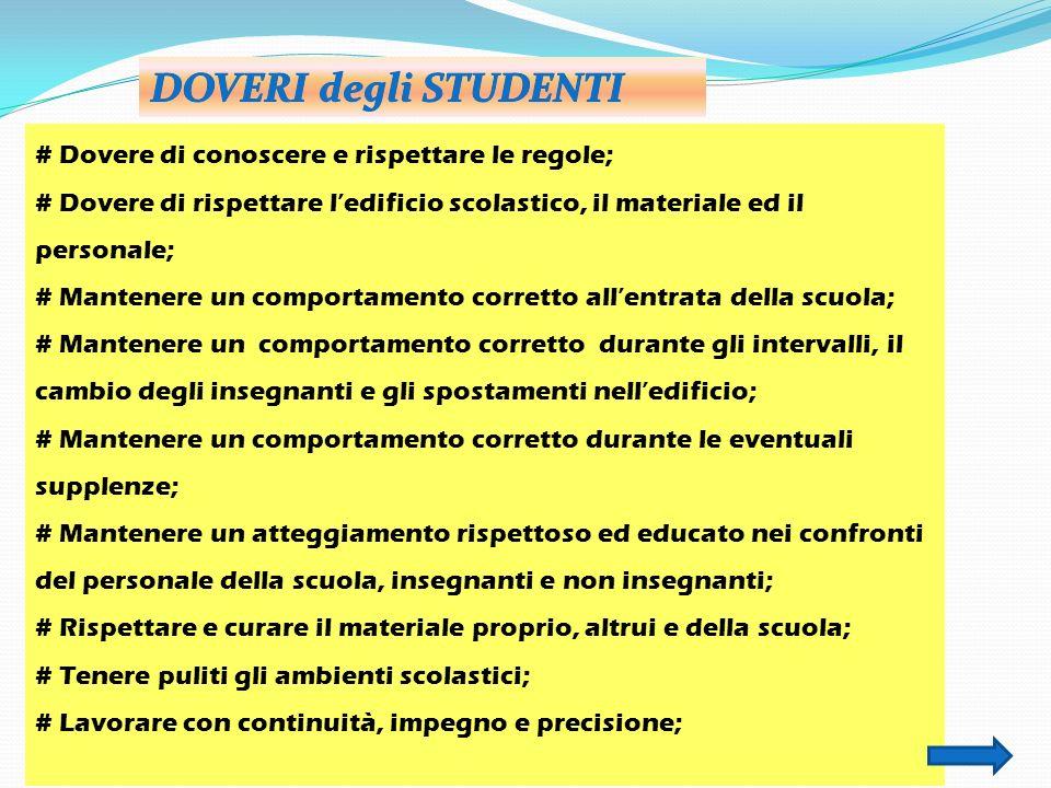 DOVERI degli STUDENTI # Dovere di conoscere e rispettare le regole;