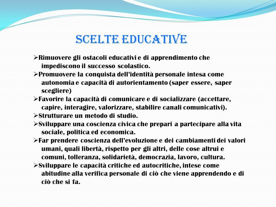 Scelte educative Rimuovere gli ostacoli educativi e di apprendimento che. impediscono il successo scolastico.