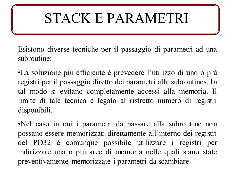 STACK E PARAMETRI Esistono diverse tecniche per il passaggio di parametri ad una subroutine: