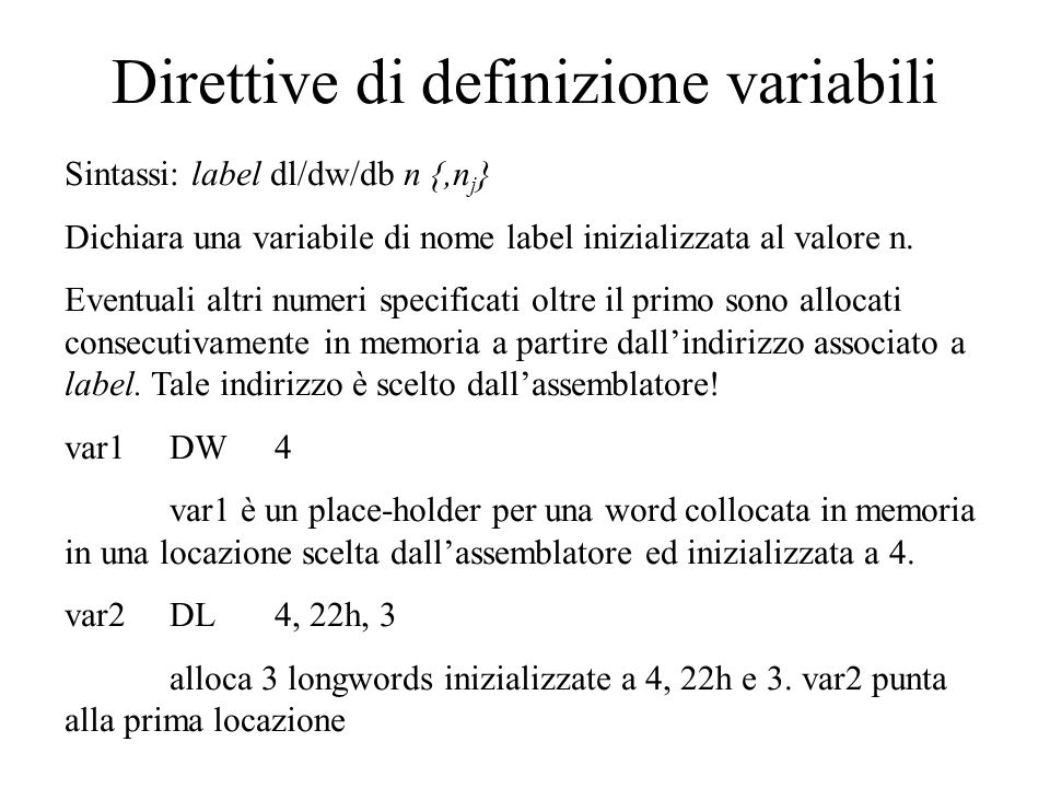 Direttive di definizione variabili