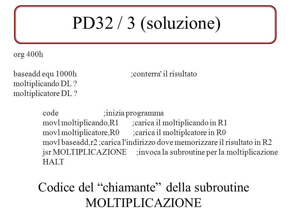 Codice del chiamante della subroutine MOLTIPLICAZIONE