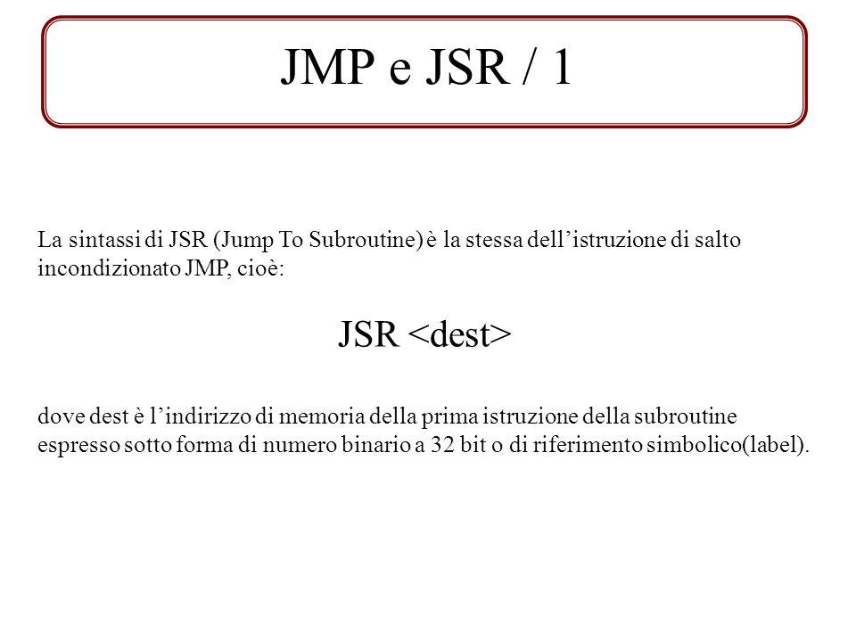JMP e JSR / 1 JSR <dest>