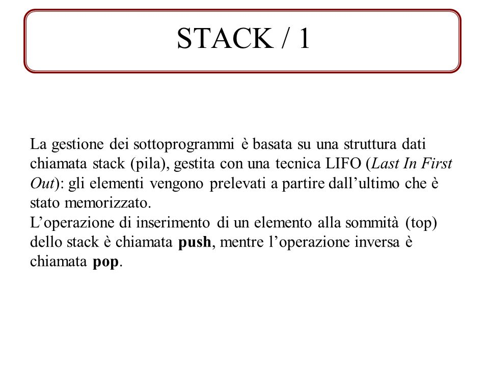 STACK / 1