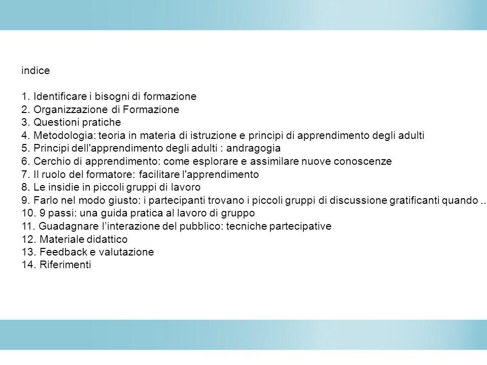 indice 1. Identificare i bisogni di formazione 2