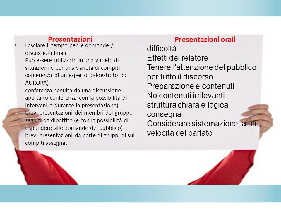Presentazioni Presentazioni orali