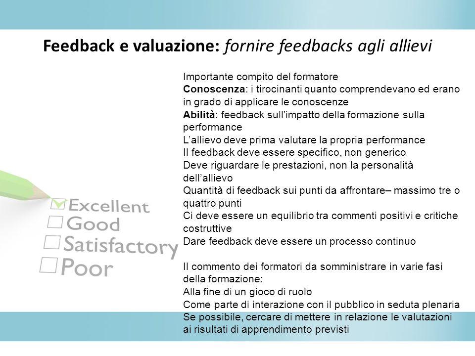 Feedback e valuazione: fornire feedbacks agli allievi