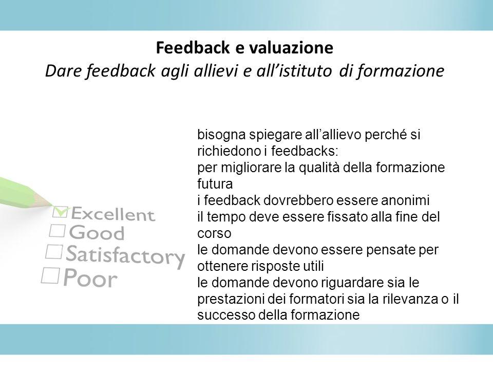 Dare feedback agli allievi e all'istituto di formazione
